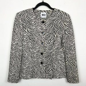 Leslie Fay Animal Print Button Down Blazer Size 8